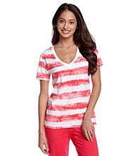 Relativity® Cherries Jubilee Knit Short Sleeved Tee - Washed Cherry Stripe