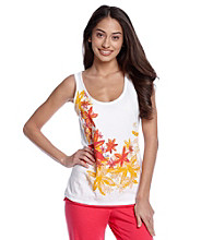Relativity® Cherry Floral Knit Screenprint Tank - Star Flower