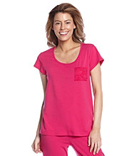 Chanteuse® Knit Short Sleeve Top - Pink Horizon