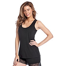 Chanteuse® Knit Laceback Tank Top - Jet Black