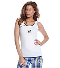 College Concepts Brewers Logo Ribbed Tank - White