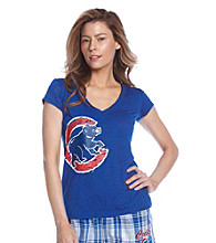 College Concepts Cubs Logo Burnout Top - Royal