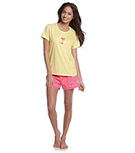 HUE® Lemon Drop Knit Boxer Pajama Set - Hazy Dots