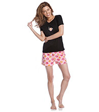 HUE® Black Knit Boxer Pajama Set - Butterfly Fish