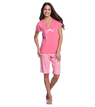 HUE® Shocking Pink Knit Bermuda Set - Lulu Leopard Pink