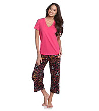HUE® Beetroot Knit Capri Pajama Set - Sunrise Martinis