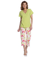 HUE® Wild Lime Knit Capri Pajama Set - Rainbow Palms