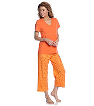 HUE® Nasturtium Orange Knit Capri Pajama Set - Lulu Leopard Orange