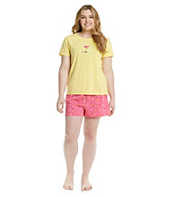 HUE® Lemon Drop Plus Size Boxer Pajama Set - Hazy Dots