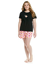 HUE® Black Plus Size Boxer Pajama Set - Butterfly Fish