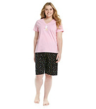 HUE® Shell Plus Size Bermuda Set - Starfish Twinkle