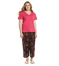 HUE® Beetroot Plus Size Capri Pajama Set - Sunrise Martinis