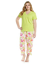 HUE® Wild Lime Plus Size Capri Pajama Set - Rainbow Palms