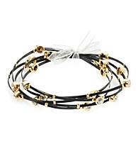 Cellini Stainless Steel Black Cable Gold Plate Guitar String Bangle Set