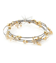 Cellini Stainless Steel Silver, Gold Guitar String Bangle Set