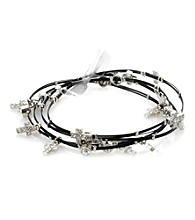 Cellini Stainless Steel Black Cable Silver Plate Guitar String Bangle Set