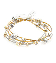 Cellini Stainless Steel Silver,Gold Guitar String Bangle Set