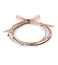 Cellini Stainless Steel 3 Rose,Silver, Chocolate Cable Bangles
