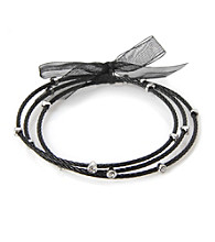 Cellini Stainless Steel 3 Black Cable Bangles