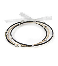 Cellini Stainless Steel 3 Black,Gold Cable Bangles