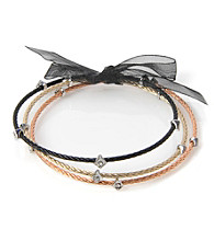 Cellini Stainless Steel 3 Black,Gold, Rose Gold Cable Bangles