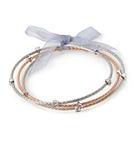 Cellini Stainless Steel 3 Rose,Silver Cable Bangles