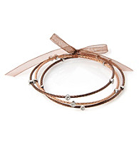Cellini Stainless Steel 3 Chocolate,Rose Cable Bangles
