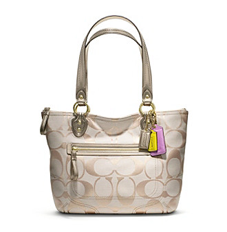 COACH POPPY SIGNATURE METALLIC SMALL TOTE