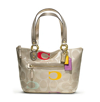 COACH POPPY EMBROIDERED SIGNATURE C SMALL TOTE