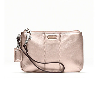 COACH METALLIC LEATHER SMALL WRISTLET