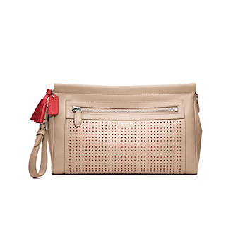 COACH LEGACY PERFORATED LEATHER LARGE CLUTCH