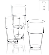 LivingQuarters Set of 4 Stackable Clear Highball Cups