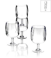 LivingQuarters Set of 4 Stackable Clear Wine Glasses