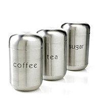 LivingQuarters Set of 3 Stainless Steel Canisters