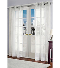 Design Decor Melissa Off-White Semi-Sheer Stripe Grommet Panel