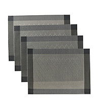 Alyssa Joy Set of 4 Tan and Black Argyle Woven Place Mats