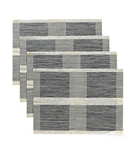 Alyssa Joy Set of 4 Grey and Black Middle Stripe Place Mats