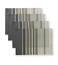 Alyssa Joy Set of 4 Silver and Gold Vertical Stripe Place Mats
