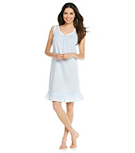 Miss Elaine® Cotton Lawn Sleeveless Gown - Blue Dot