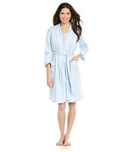 Miss Elaine® Cotton Lawn Wrap Robe - Blue Dot