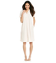 Miss Elaine® Short Zip Robe - Peach