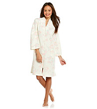Miss Elaine® Short Zip Robe - Peach Print