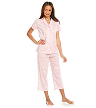 Dearfoams Blush Crop Pajama Set - Pink Gumdrop Dots