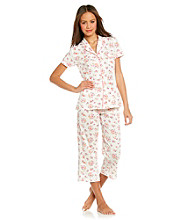 Dearfoams Rose Crop Pajama Set - Bubblegum Blooms