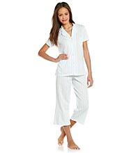 Dearfoams Crop Pajama Set - Sweet Blue Stripe