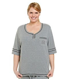 KN Karen Neuburger Plus Size Knit Henley Top