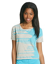 Steve Madden Heather Grey Oversize Crop Tee - Teal Graphic