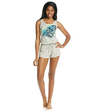 Steve Madden Heather Grey Knit Tank Romper - Butterfly Graphic