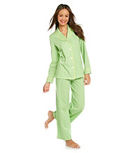 HUE® Bud Green Cotton Pajama Set - Green Dash Foulard