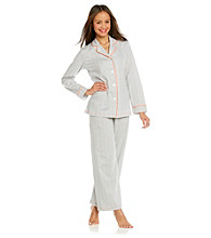 HUE® Cotton Pajama Set - Frost Grey Dot